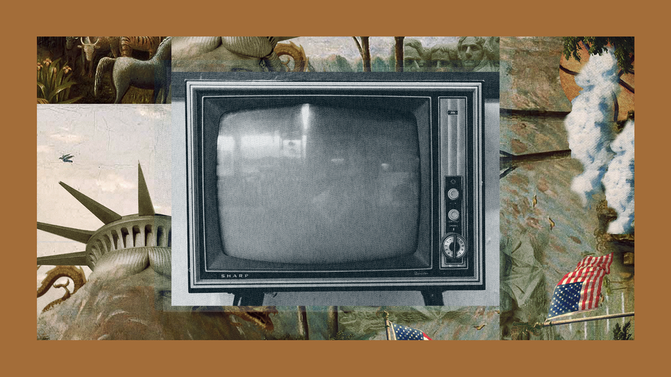 A '90s TV set in the center of a frame featuring The Experiment's show art