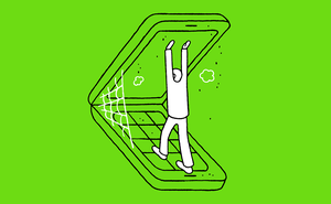 Illustration of person opening giant flip phone with spiderweb and dust on green background