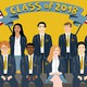 "An illustration of a diverse group of students beneath a banner reading ""Class of 2018"""
