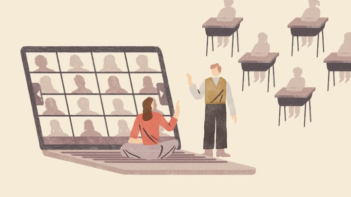 An illustration of two teachers greeting each other in front of a giant computer displaying a Zoom meeting; in the background students sit at desks