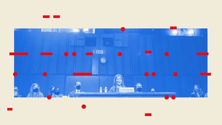 An illustration of Amy Coney Barrett at her hearing and Morse code