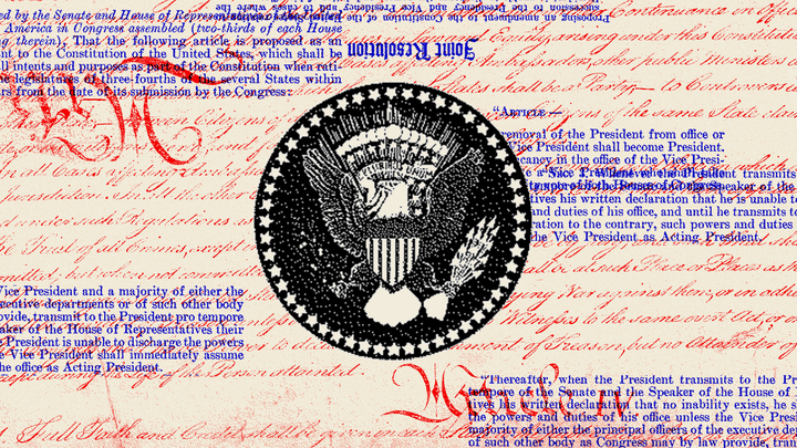 An illustration of the Constitution in red and blue text