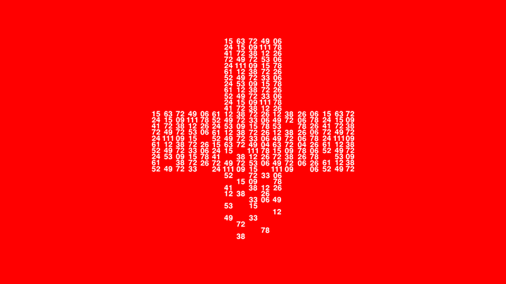 A cross made of white number in columns fades away against a red background