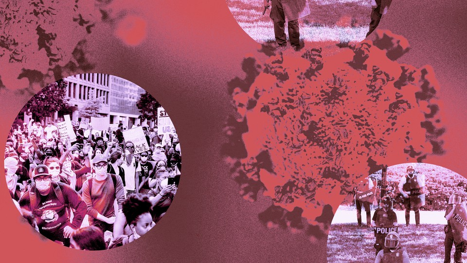Coronavirus particles and scenes of protest