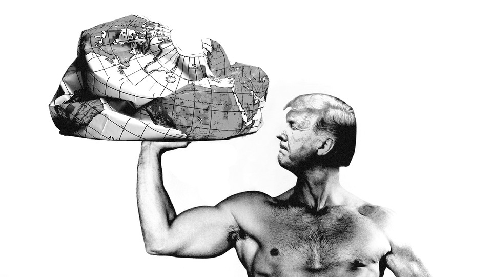 Trump holding deflated globe
