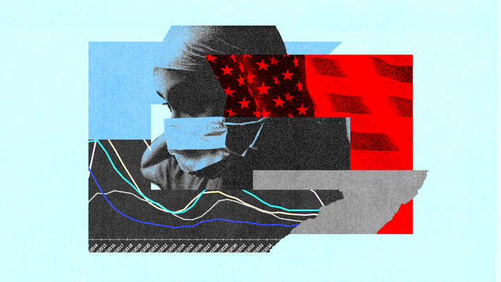 A woman in a surgical mask with blue and red blocks of color behind her—one is a graph, another an America flag
