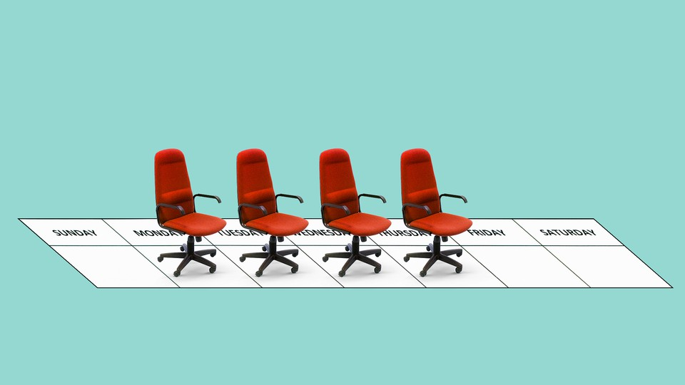 An illustration of four office chairs overlaid on a weekly calendar
