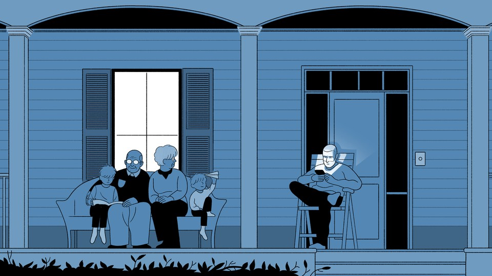 illustration of a family sitting on a porch