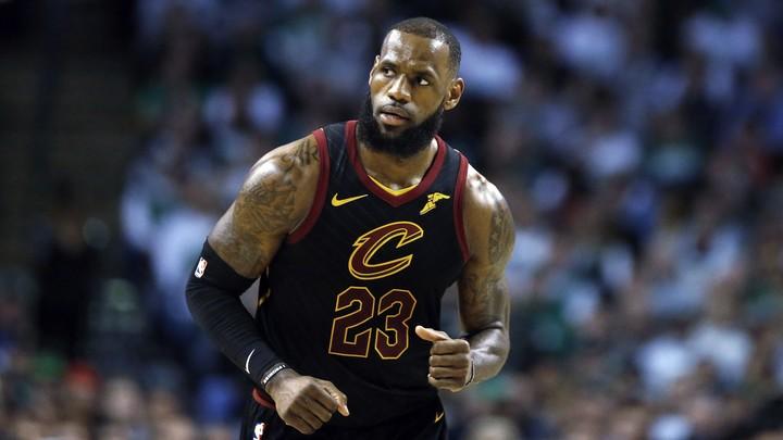 LeBron James plays against the Boston Celtics