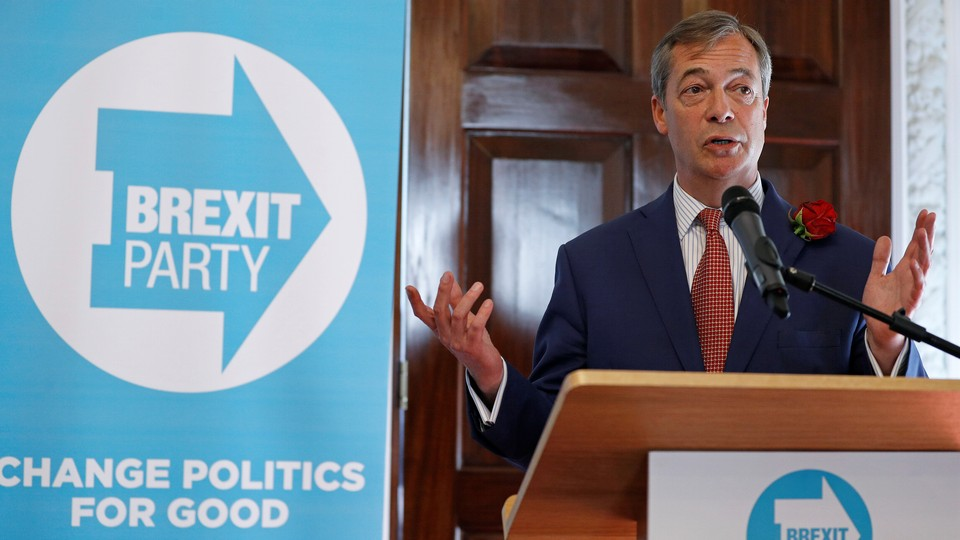 Nigel Farage, a member of the European Parliament, attends a campaign event in April.