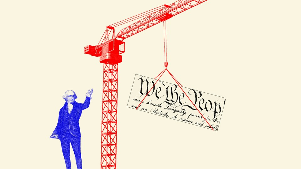 A photo illustration of a construction site, the Constitution, and a Founding Father