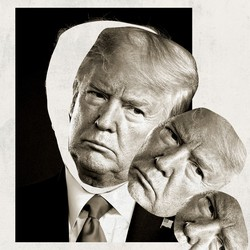 An illustration of Donald Trump's face toppling out of its silhouette