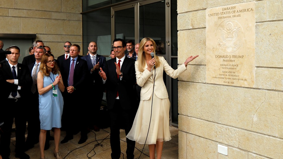 Ivanka Trump and Steven Mnuchin at the dedication ceremony of the new U.S. embassy in Jerusalem on May 14, 2018