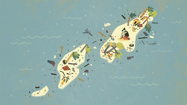 An illustration of small islands covered in the debris left by a storm