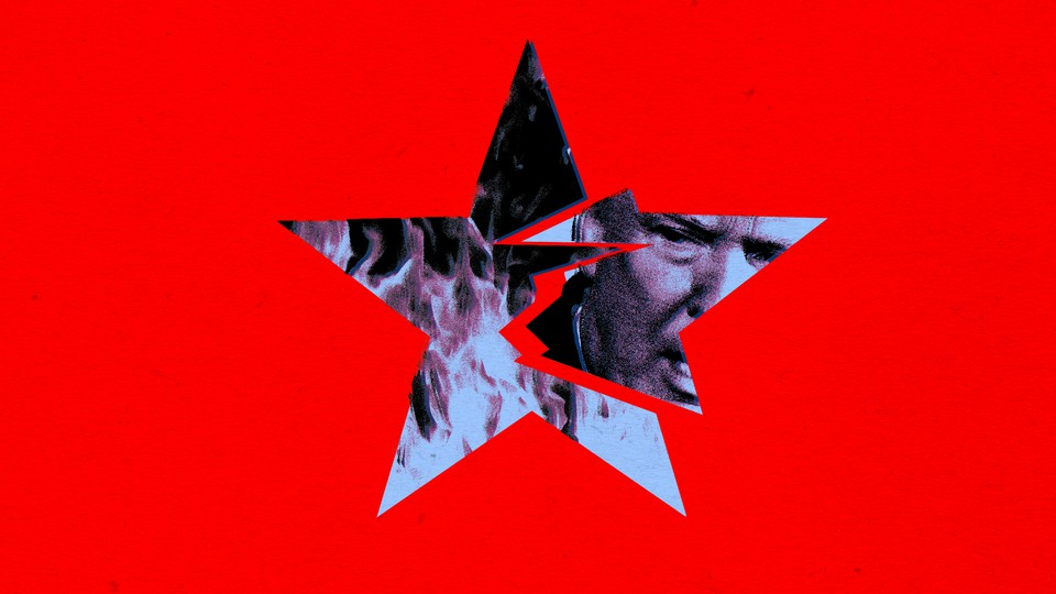 An illustration of Donald Trump with a shattered star