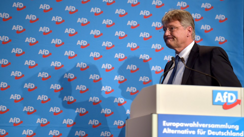 AfD leader Joerg Meuthen speaks at a party meeting about the European elections in January 2019.