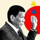 A profile black and white photograph of Rodrigo Duterte set against a background with red circles and blue and yellow triangles.