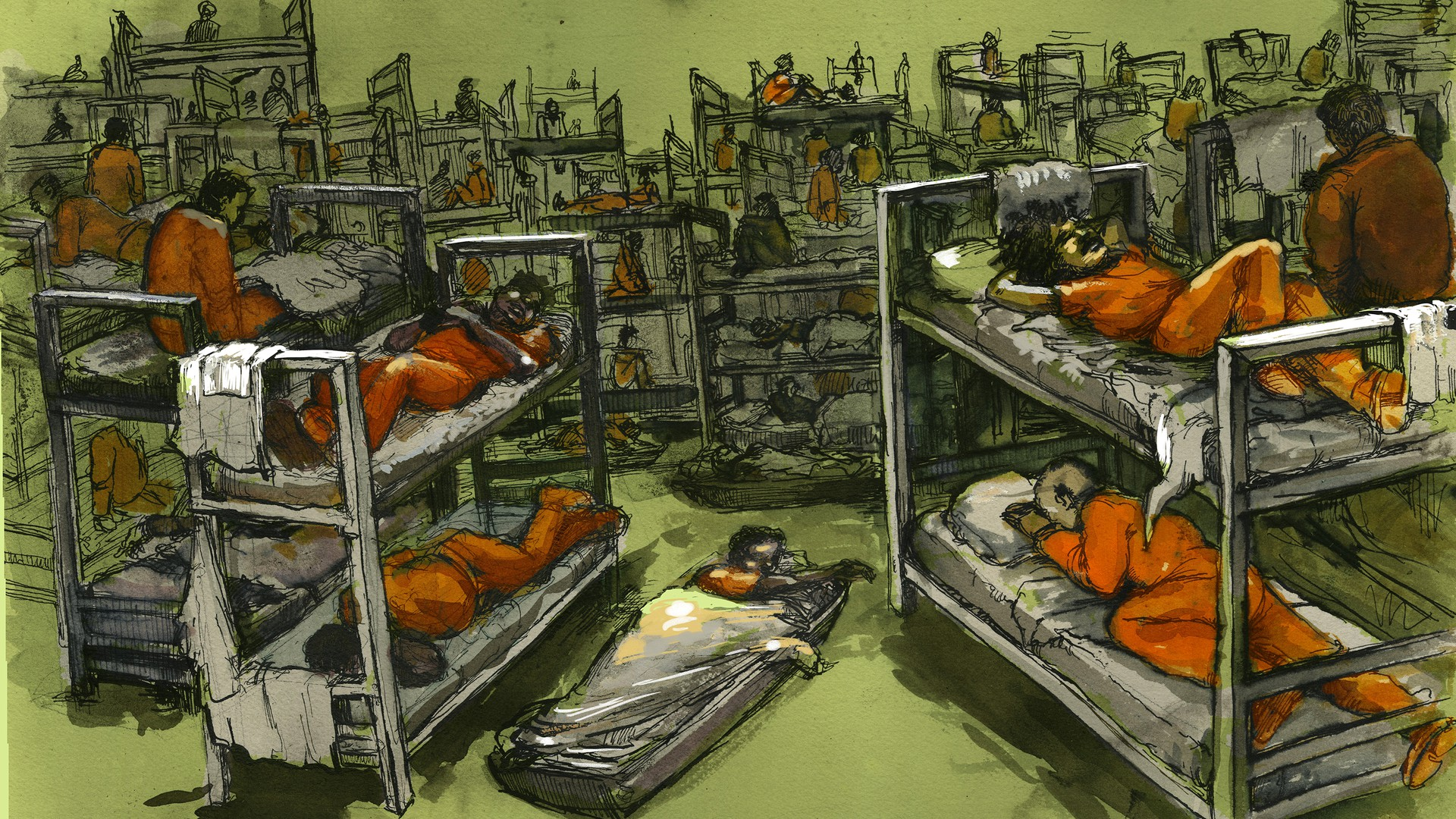 a crowded jail cell in green and orange hues