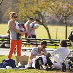 Mothers gather with their babies in New York's Central Park