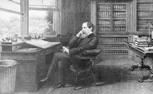 Charles Dickens in his home study