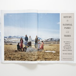 """Photograph of the cover story of the May 2021 issue, """"Return the National Parks to the Tribes"""""""