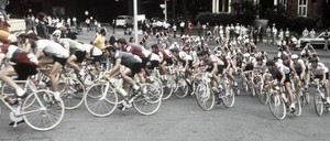 Cyclists race as part of Montreal's 1976 Olympic Games.