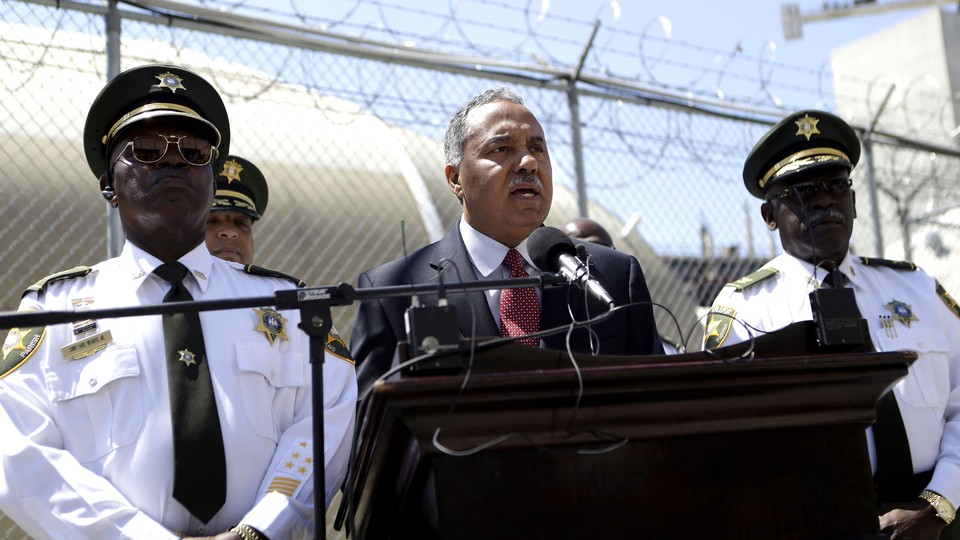 Orleans Parish Sheriff Marlin Gusman speaks at a news conference in New Orleans in 2013