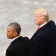 Michelle Obama, Barack Obama, Donald Trump, and Melania Trump stand together.