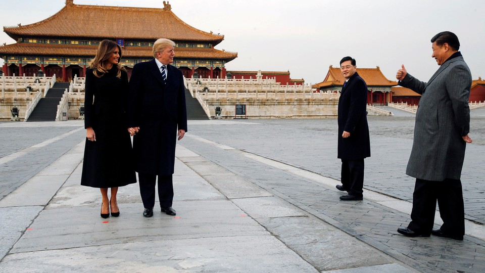 Donald and Melania Trump visit the Forbidden City in Beijing with Xi Jinping in 2017.