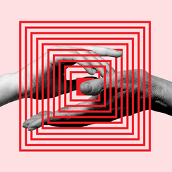 A graphic showing two hands overlaid by a maze.