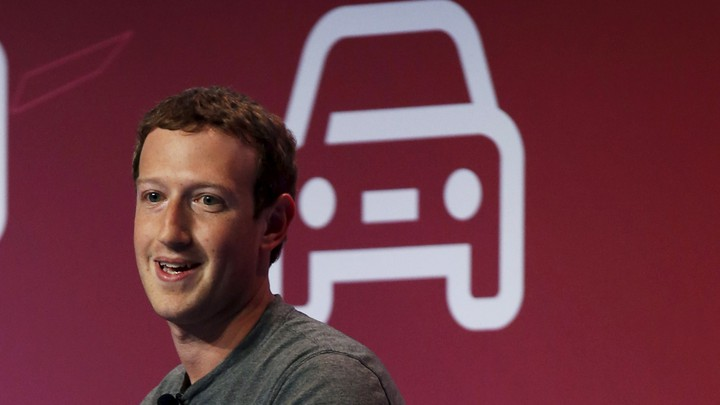 Mark Zuckerberg in front of a line drawing of a car