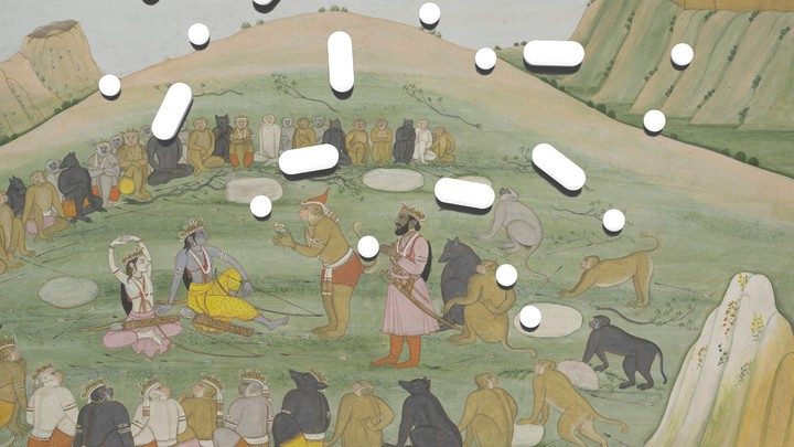 A combination of white pills superimposed on Indian art