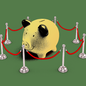 Artwork of a piggy bank with a red velvet rope line holding it in.