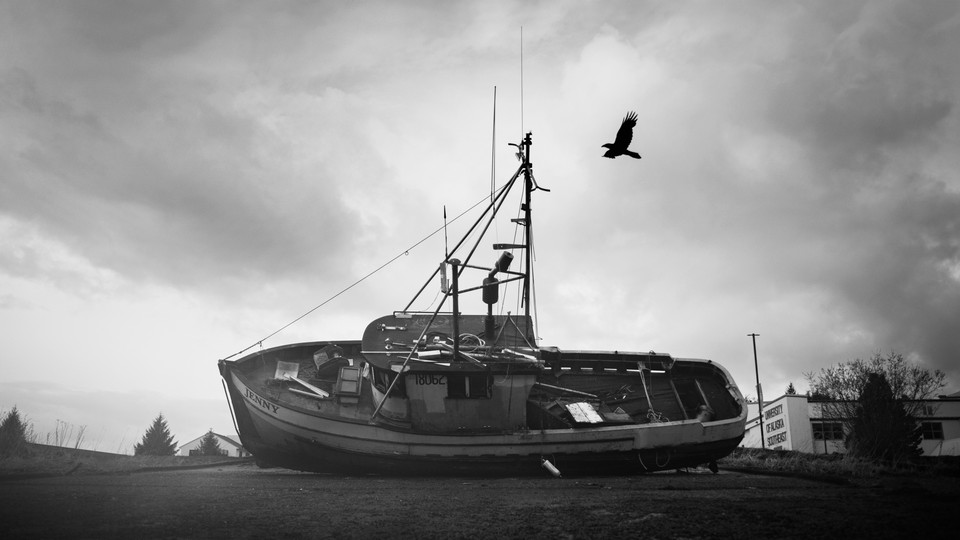 An old boat pulled from the water in Sitka, Alaska.