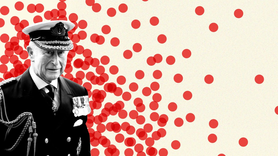Prince Charles surrounded by red dots.
