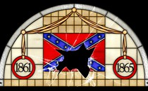 Illustration: Stained glass window with shattered confederate flag and dates 1861 and 1865