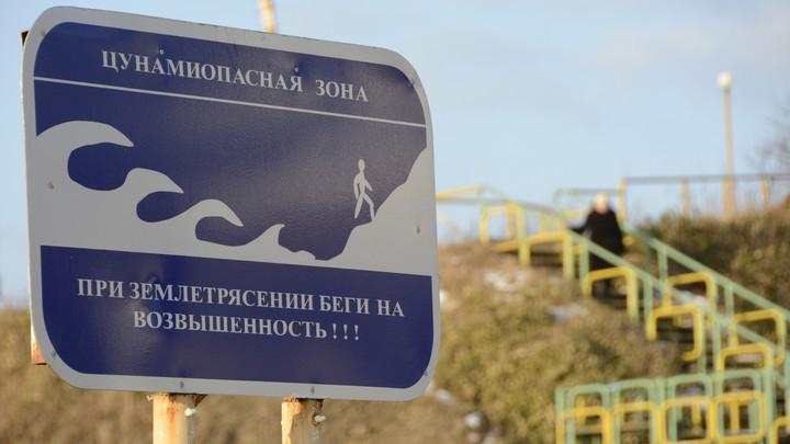 A blue tsunami warning sign on a beach