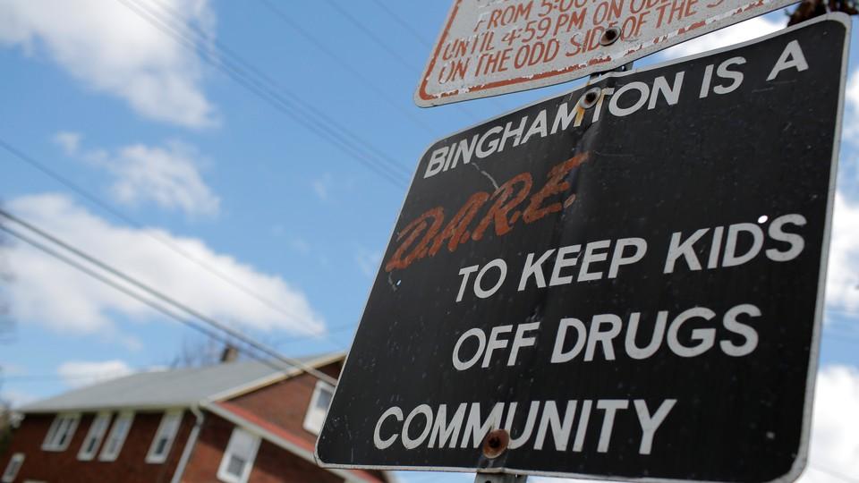 A D.A.R.E. sign in Binghamton