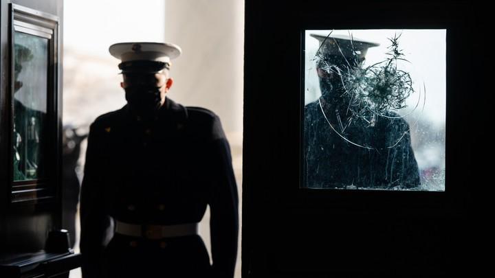 A broken window at the U.S. Capitol.