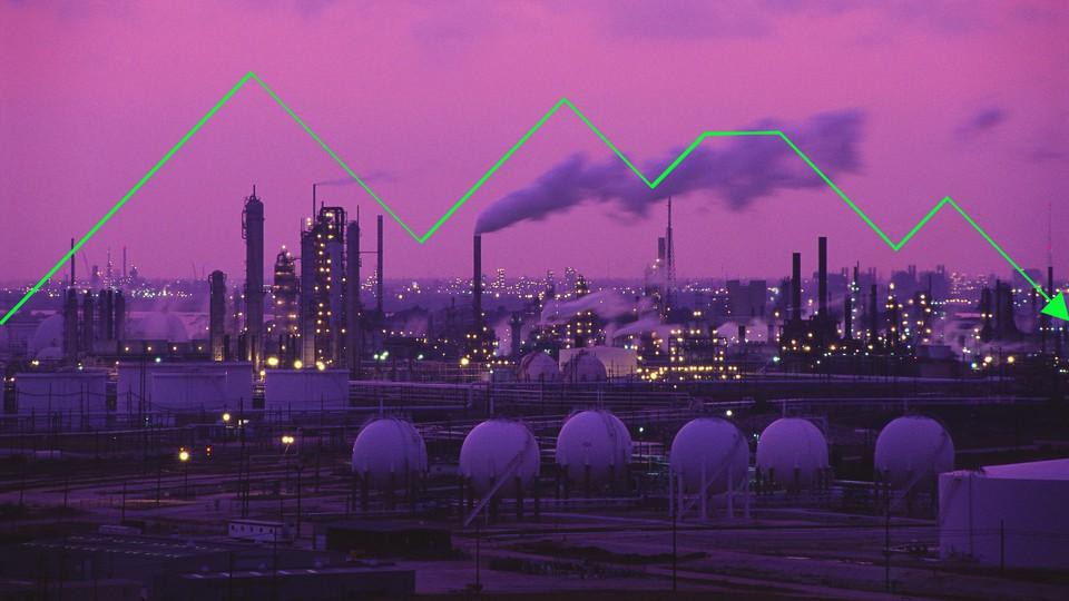 Exxon Oil Drilling Plant against a purple sky