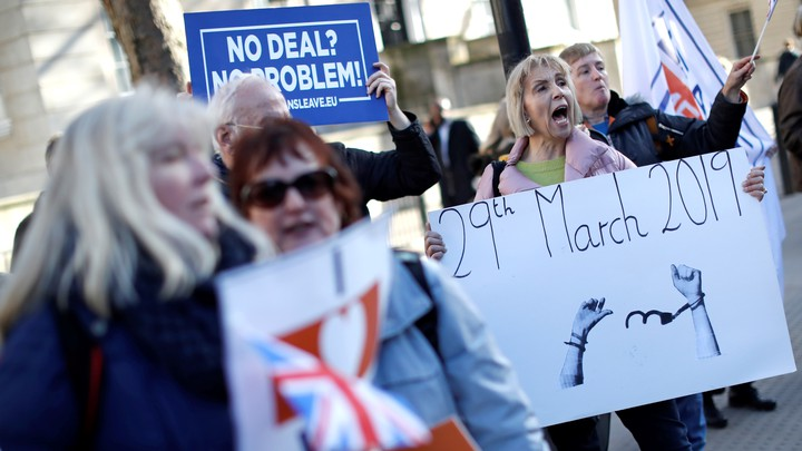 Brexit supporters protest outside Downing Street in February 2019.