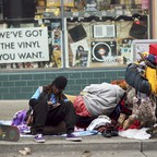 A photo of a homeless man on the streets of Berkeley, California