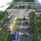 A rendering of Sweetwater, Florida's Eighth Street, reimagined as a tree-lined boulevard.