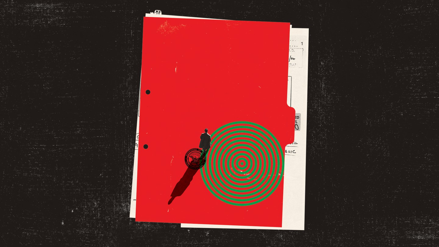 illustration of a red folder with green target and man with shadow