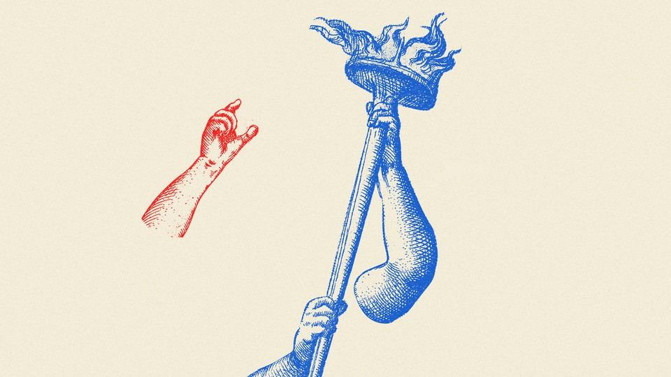 An illustration of a hand and a torch