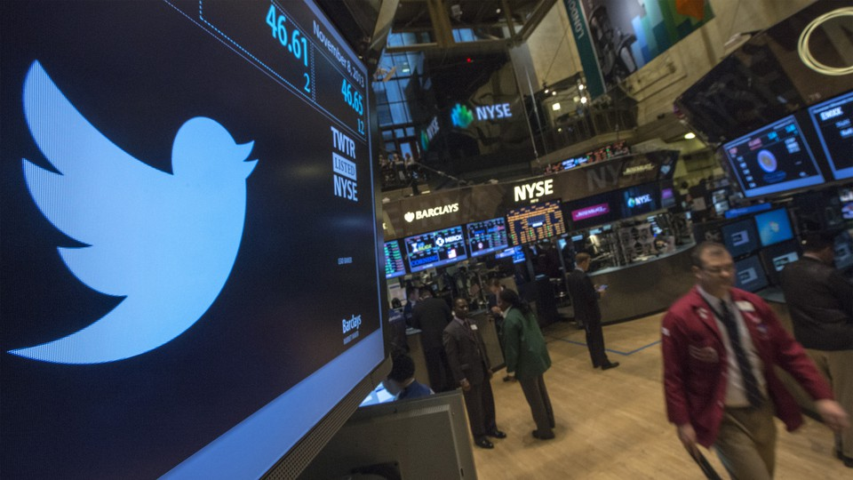 Twitter logo displayed at the New York Stock Exchange