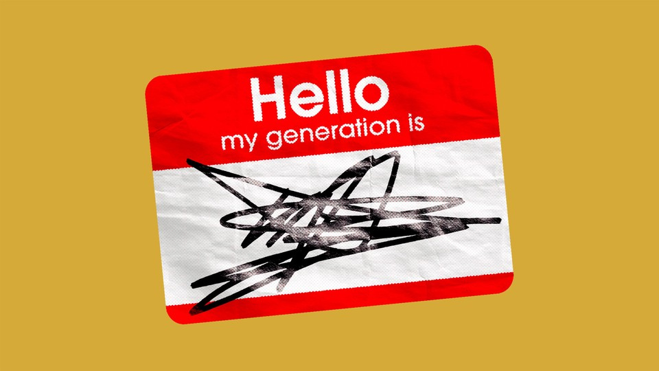 """A nametag that says, """"Hello, my generation is…,"""" above an illegible scribble"""