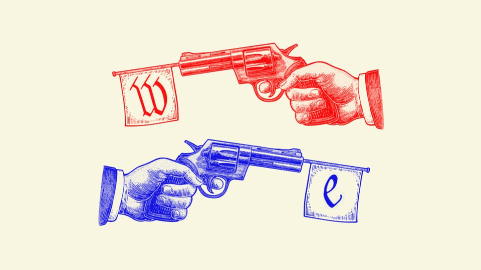 """An illustration of a red gun that has a flag in its barrel with the letter """"W"""" on it, and a blue gun with a flag featuring the letter """"E"""""""