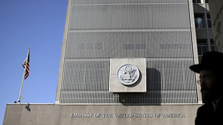 The U.S. embassy in Tel Aviv, Israel on January 20, 2017.