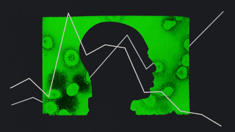 An illustration of a person with virus cells behind them and a graph superimposed